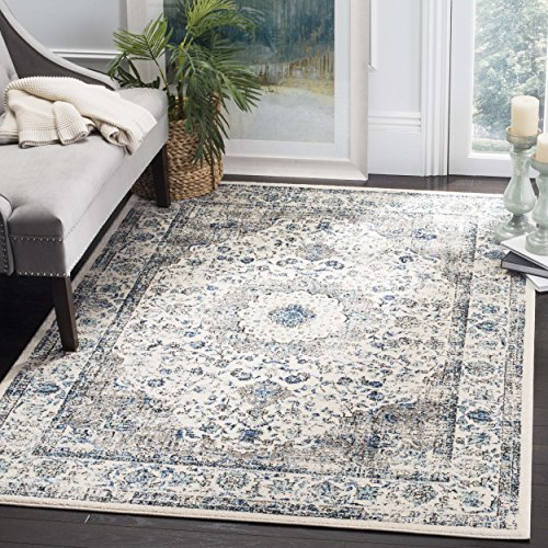 (Safavieh Evoke Collection EVK220D Vintage Oriental Grey and Ivory Square Area Rug (9' Square))