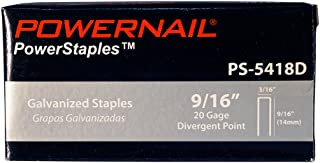 """product image for Powernail 20ga Divergent Point Staples. 3/16"""" crown x 9/16"""" long. 5000ct box"""
