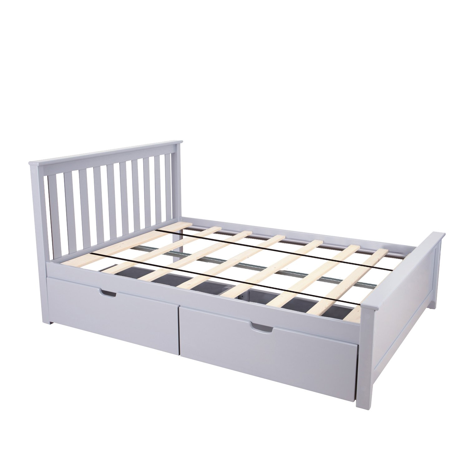 Astounding Max Lily Solid Wood Full Size Bed With Under Bed Storage Drawers Grey Caraccident5 Cool Chair Designs And Ideas Caraccident5Info