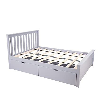 Amazon.com: Max & Lily Solid Wood Full-Size Bed with Under Bed ...
