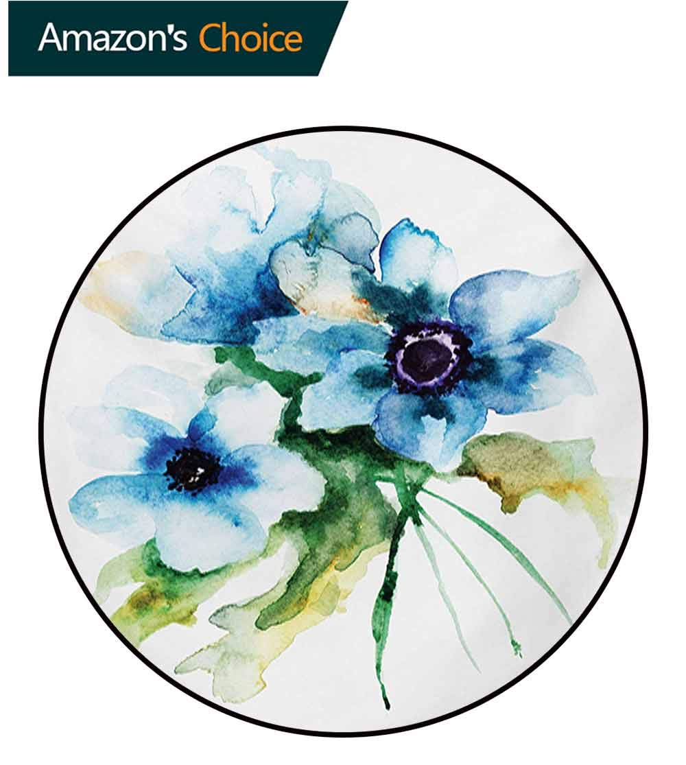 RUGSMAT Watercolor Flower Non Slip Round Rugs,Pale Colored Summer Flower Painting with Leaves Bouquet Nature Art Oriental Floor and Carpets,Diameter-55 Inch Teal Green White by RUGSMAT (Image #1)