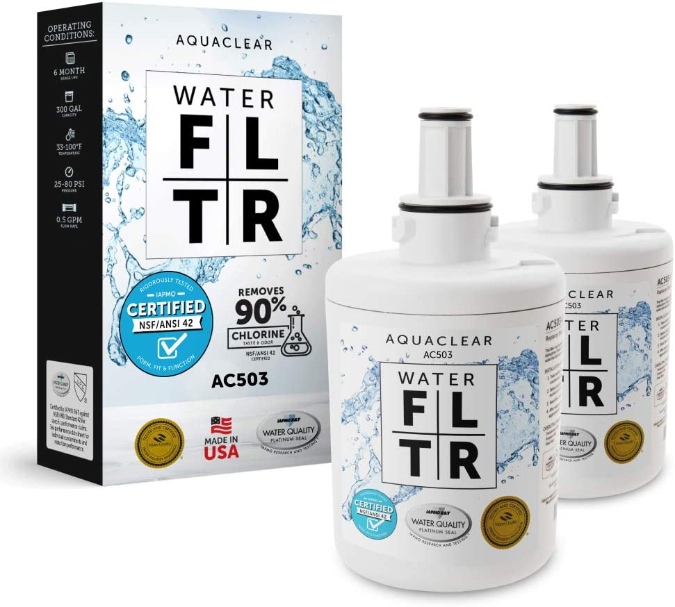 Aqua Clear Replacement for DA29-0003G Samsung Filter. Support Local Manufacturing. Made in Indiana. NSF Certified 42 for the Reduction of Chlorine Taste and Odor. (2-Pack)