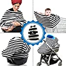 Baby Multi-Use Gift: Stretchy Nursing Cover, Car Seat & Stroller Apron Canopy, Shopping Cart Cover. Infant And Baby Breastfeeding Scarf, Black And White Design, Free Gift: Bandana Bib By Mancub