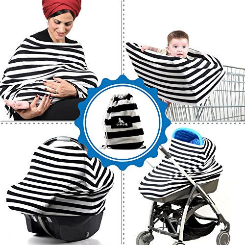 Baby Multi-Use Stretchy Nursing Cover, Car Seat & Stroller Apron Canopy, Shopping Cart Cover. Infant And Baby Breastfeeding Scarf, Black And White Design, Free Gift: Bandana Bib By Mancub