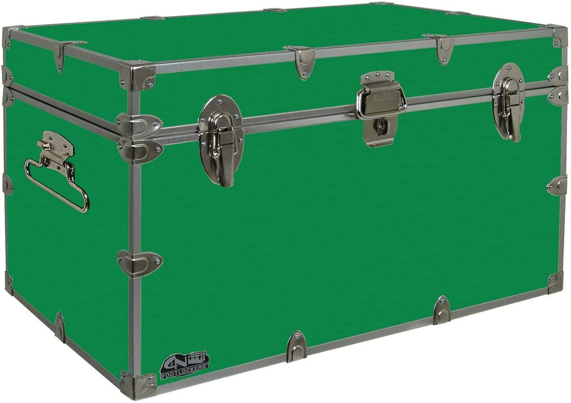 C&N Footlockers Graduate Storage Trunk - Large College Dorm Chest - Durable with Lid Stay - 32 x 18 x 18.5 Inches