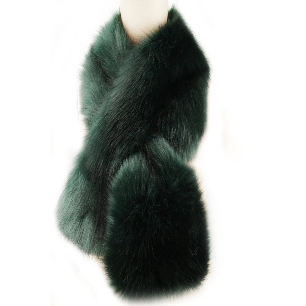 Dikoaina Women's Winter Fake Faux Fur Scarf Wrap Collar Shawl Shrug