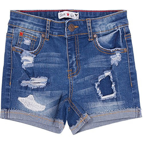Teen G's Big Girls Denim Shorts with Rips and Repair 123124
