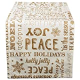 """DII 100% Cotton, Machine Washable, Printed Metallic Table Runner For Parties, Christmas & Holidays - 14x108"""", Gold Christmas Collage"""