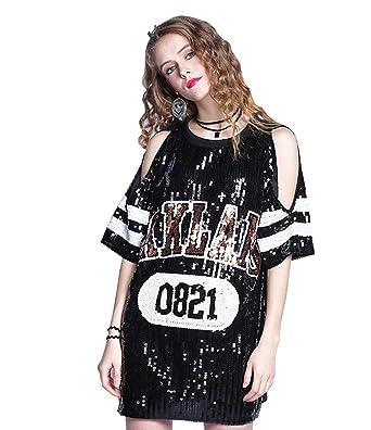 a6b7aa8b312a2 Paillette T Shirt Letter Printed Glitter Top - Women Sequin Tunic Top Tank  Top