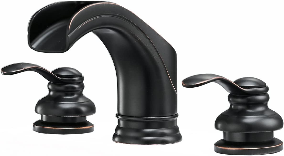 BWE Waterfall 8-16 Inch 3 Holes Two Handle Widespread Bathroom Sink Faucet Oil Rubbed Bronze Commercial