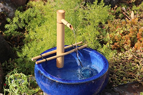 Bamboo Accents Zen Garden Water Fountain Spout, Complete Kit includes Submersible Pump for Easy Install, Handmade Indoor/Outdoor Natural Bamboo (Adjustable w/ Branch Arms - 12 Inches)