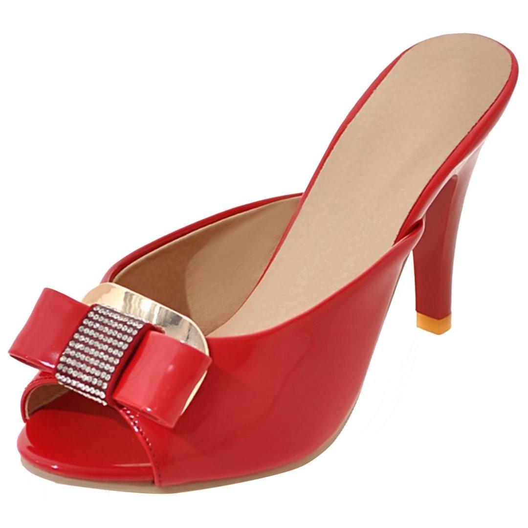 AIYOUMEI Damen Lack Pantoffeln mit Schleife und Strass Sandalen Peep Toe Slippers High Heels Mules  40 EU|Rot