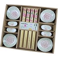 Wedding Business Gift Home Flatware Set Chopsticks/Holder/Irregular Dish 12PCS-Peony