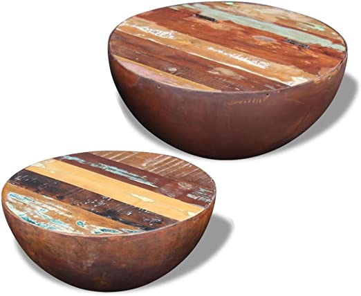 binzhoueushopping Conjunto de 2 mesas Bajas de Madera de recuperación Maciza Mesa Baja salón Moderno Panorama, 60 x 60 x 30 cm (L x l x h) para la Gran Mesa Mesa Baja Design: Amazon.es: Jardín