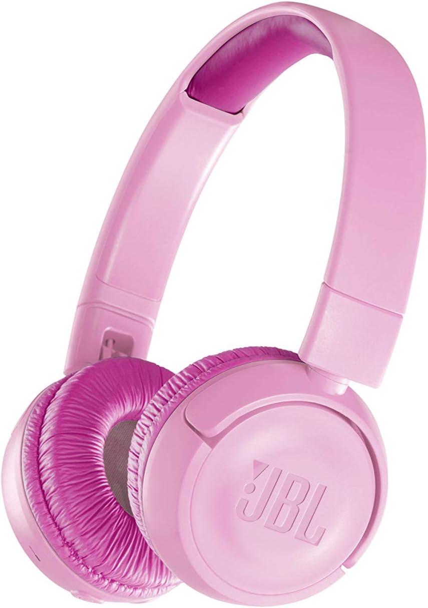 JBL JR300BT – Auriculares supraaurales con Bluetooth para niños con un divertido set de pegatinas para diseño personalizado, Sonido inocuo con limitador de sonido de 85 dB, Color Rosa