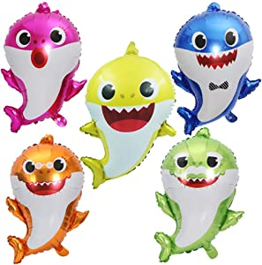 Hongkai 5 Pcs Baby Shark Family Foil Balloons Set for Sea World Shark Baby Themed Birthday 1st Birthday Decorations Boy Girl Kids Birthday Party Baby Shower Party Supplie