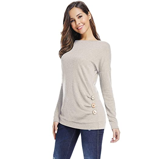 cab0418cb71d3 Sunfung Women s Casual Long Sleeve Clothing Round Neck Loose Tops Tees Blouses  Tunics (Beige