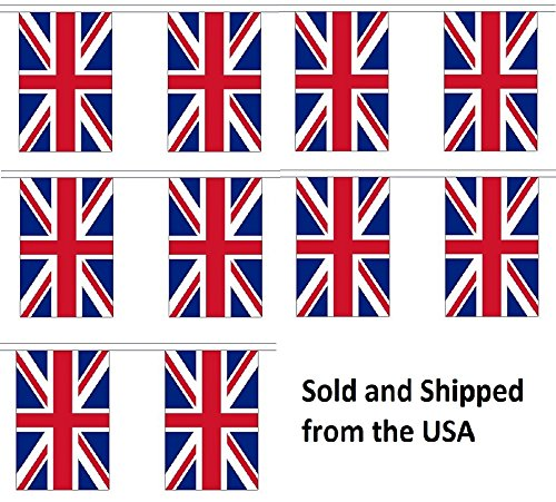 - 10' United Kingdom (UK) String Flag Party Bunting Has 10 Great Britain 6