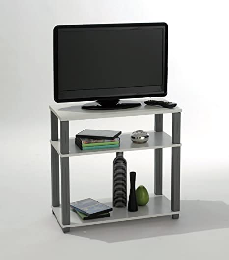Mesa De Tv Mueble Multimedia Blanca Y Gris Para Salon Comedor O Habitacion Mesa Auxiliar