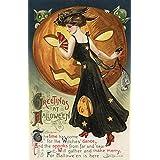 Halloween Greeting - Witch Dancing and Pumpkin (9x12 Art Print, Wall Decor Travel Poster)