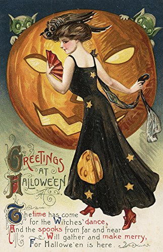 Halloween Greeting - Witch Dancing and Pumpkin - Vintage Holiday Art (12x18 Art Print, Wall Decor Travel Poster)
