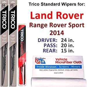 Wipers for 2014 Land Rover Range Rover Sport Set w/Rear Trico Steel Wipers Set of 3 Bundled with MicroFiber Interior Car Cloth