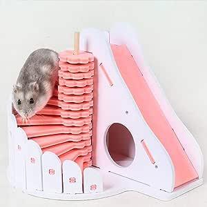 BVDFH Hamster Escalera Sleeping House erizo ardilla de madera castillo de juguete de Pequeños Animales de visión cubierta de la cabina dormitorio for mascotas (Color : Pink , Size : 17.3*15*14.7CM) :