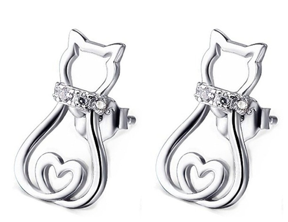 925 Sterling Silver with Cubic-Zirconia Creative and Cute Love Cat Stud Earrings for lucky Girls LSE13
