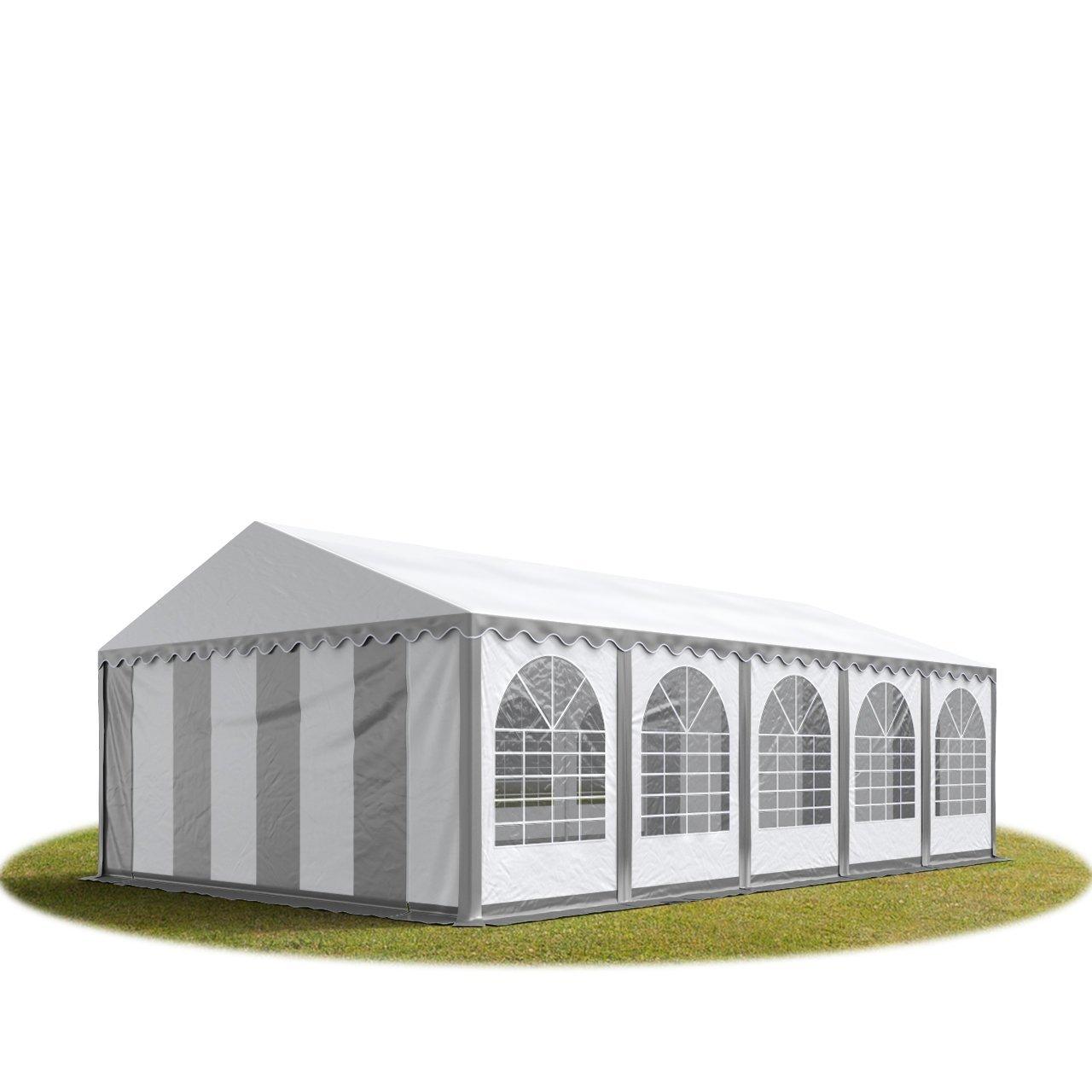 Festzelt XXL Partyzelt 6x10m, hochwertige 550g/m² feuersichere PVC Plane nach DIN in grau-weiß, 100% wasserdicht, vollverzinkte Stahlkonstruktion mit Verbolzung, Seitenhöhe ca. 2,6 m