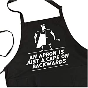 BBQ Grill Apron - Apron is Just a Cape on Backwards - Funny Superhero Apron For Dad - 1 Size Fits All Chef Apron - 4 Utility Pockets, Adjustable Neck and Long Waist Ties