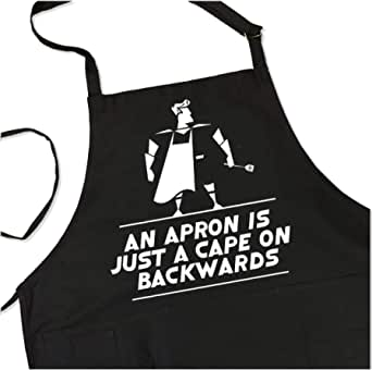 BBQ Grill Apron - Apron is Just a Cape on Backwards - Funny Superhero Apron For Dad - 1 Size Fits All Chef Apron - 4 Utility Pockets Adjustable Neck and Long Waist Ties