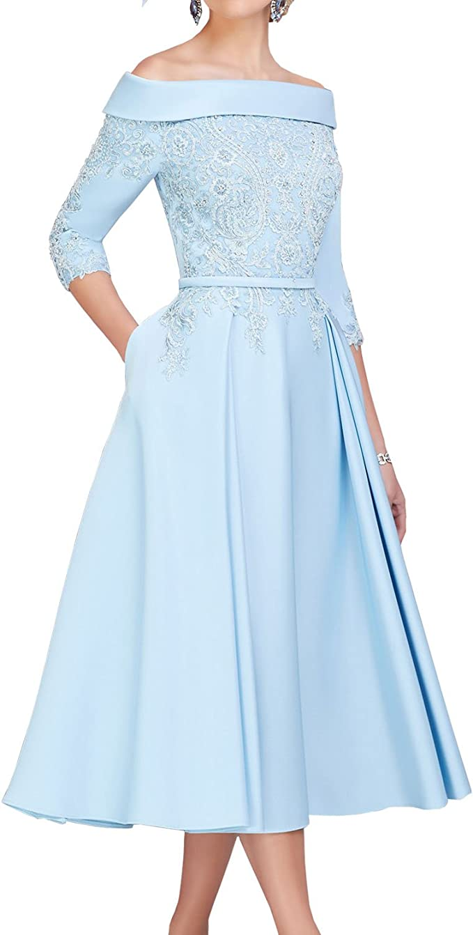 ShineGown Off-The-Schulter Satin A-Linie Spitze Applique Mutter