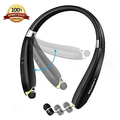 Bluetooth Headset MixMart Inalámbrico Bluetooth V4.1 Plegable Auriculares deCorrea de Auriculares de Deporte Cancelación