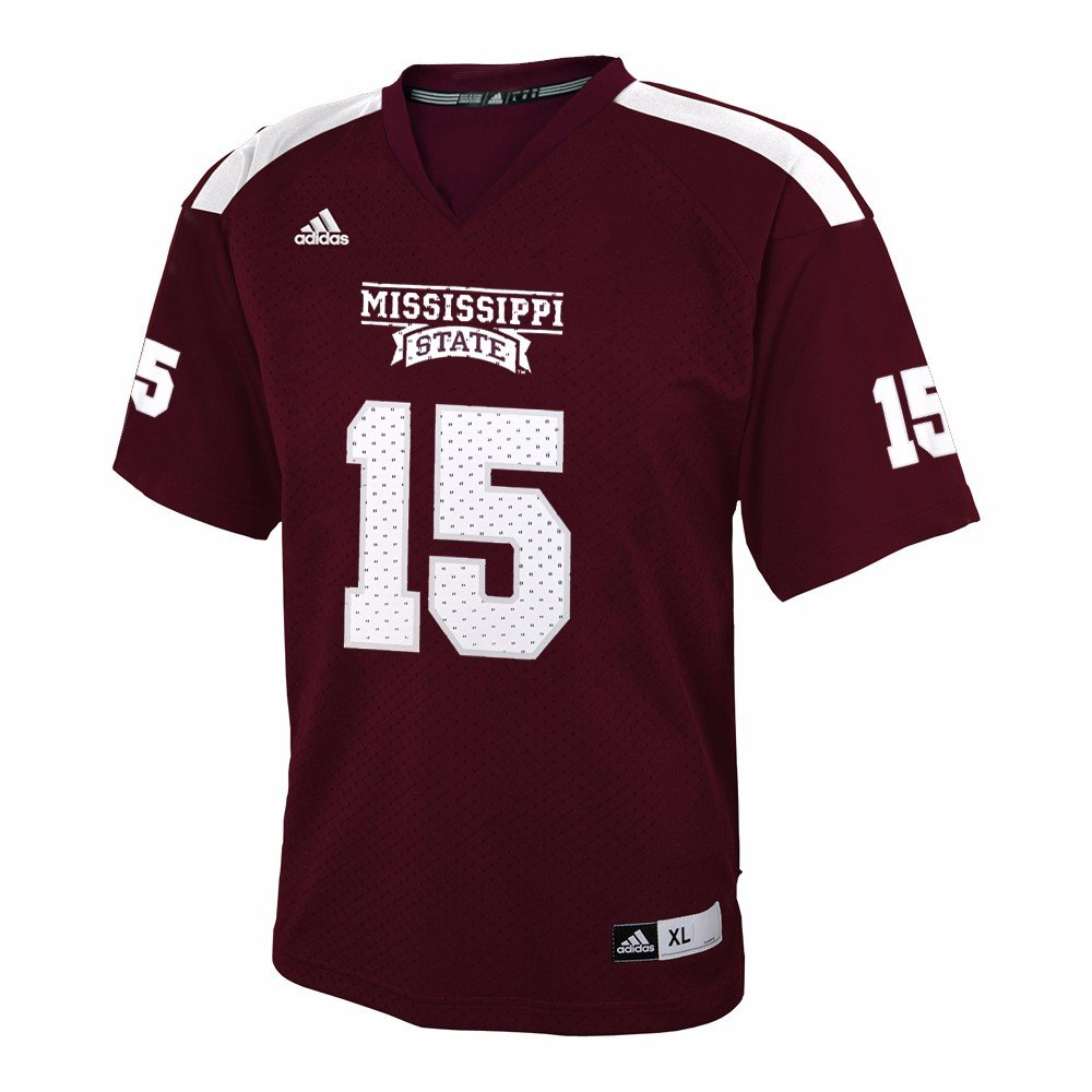 Adidas Mississippi State Bulldogs NCAA Maroon Offizielles Home   15 Replica Football Jersey für Youth