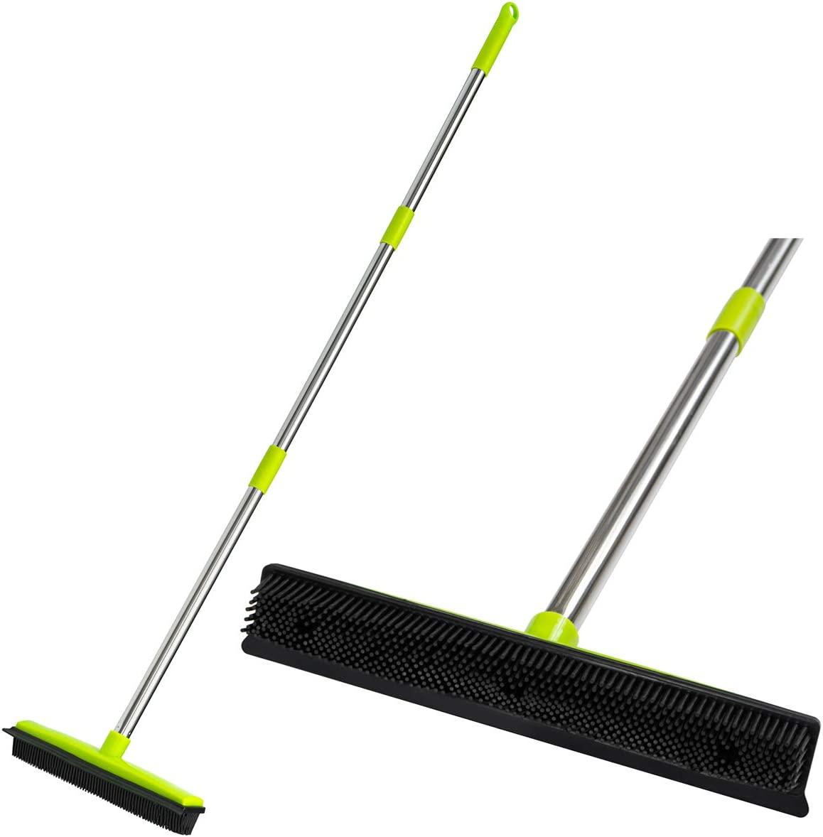 "CGACOL Rubber Floor Broom Carpet Rake Rubber Brush Broom with Soft Squeegee Adjustable Long Handle Pet Hair Removal Broom for Househeld Cleaning Floor Indoor Outdoor 49"" Length"