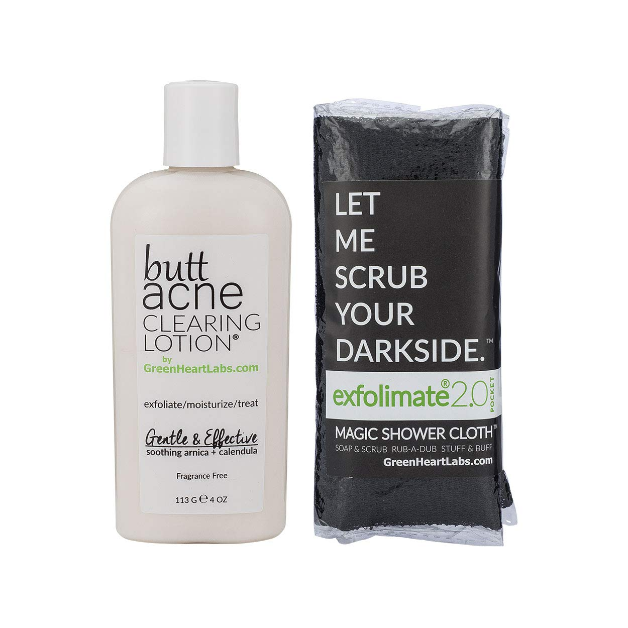 Brilliant Booty Kit | Butt Acne Clearing Lotion and ExfoliMATE Magic Body Exfoliating Cloth for Soft & Young Skin (Black) by Green Heart Labs