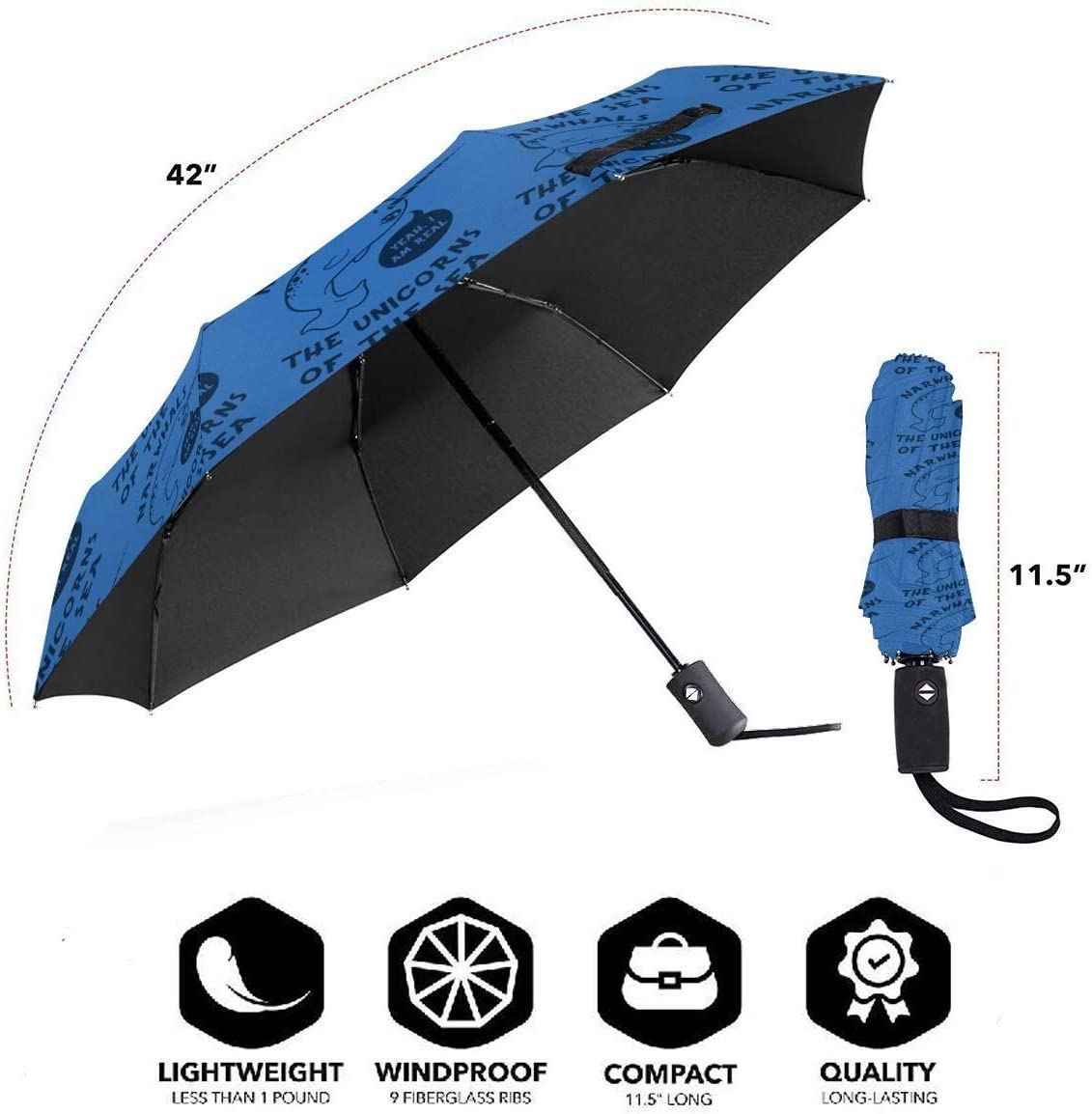 Narwhals Yes Im Real Unicorn Of The Sea Automatic Tri-fold Umbrella Folding Rain Umbrell Sunshade