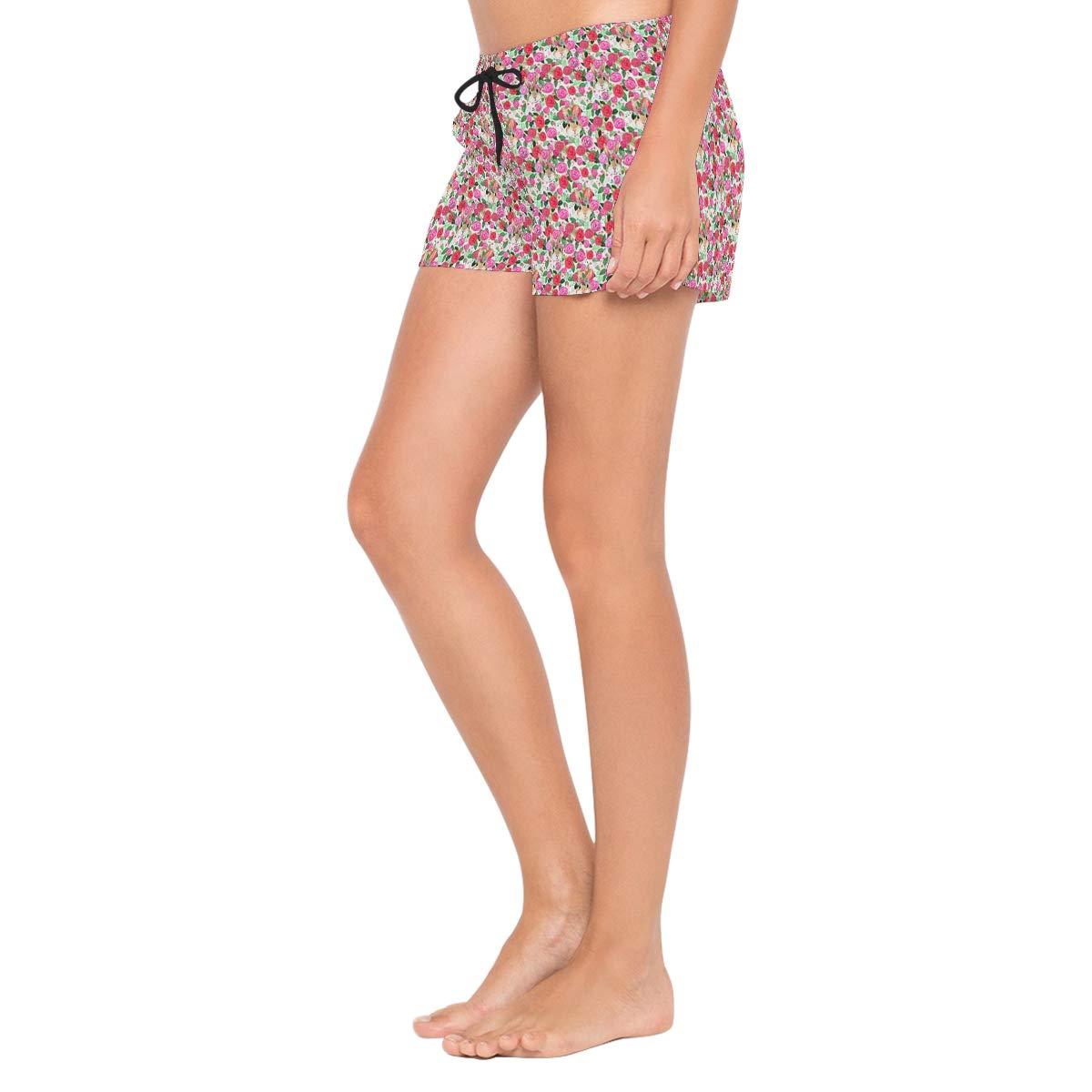 Lttedeng Womens Swim Trunks Summer 3D Print Bunny Blush Roses Casual Athletic Swimming Short