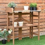 K&A Company Bench Station Potting Work Garden Outdoor Planting Wood Table Storage Patio Solid Construction Shelf Wooden New Yard Gardening