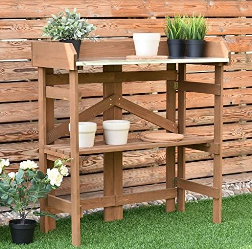 K&A Company Bench Station Potting Work Garden Outdoor Planting Wood Table Storage Patio Solid Construction Shelf Wooden New Yard Gardening by K&A Company