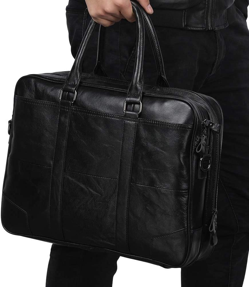 Cozy 15 inch 15.6 inch 17 inch Genuine Leather Laptop Messenger Wallet Business Computer Briefcase for Men Sturdy Color : Black, Size : S