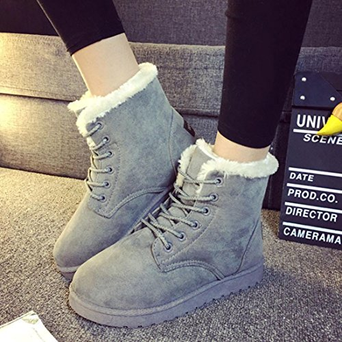 Warm Snow Winter Fur Winter Shoes Flat Egmy Grey Up Lined Women's Boots Ankle Lace 2017 AvPzZqw