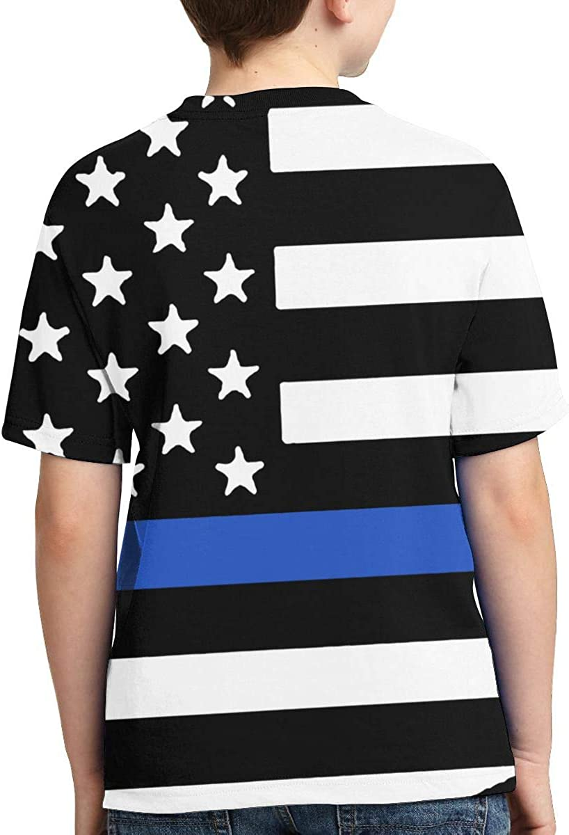 Short-Sleeve Police Flag Blue Lives Matter Shirts for Children Ruffled Blouse Clothes XS-XL