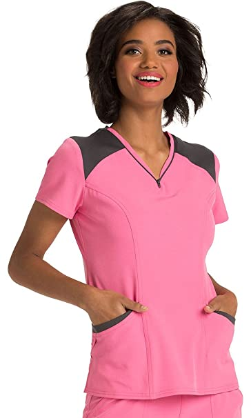 """67c633b50ef Image Unavailable. Image not available for. Color: HeartSoul Women's  HS650"""" Heat Zips A Beat Contrast V-Neck Top- ..."""
