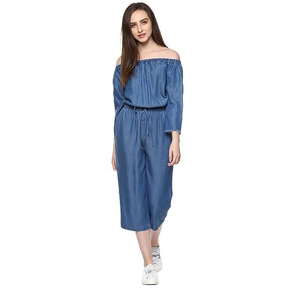 ef7e7d6f1d7 STREET9 Blue Denim Off Shoulder Jumpsuit  Amazon.in  Clothing   Accessories