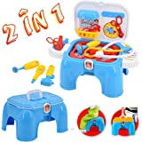 deAO 2-in-1 Portable Medical Carrycase Play Set and Stool with Accessories Included – Great  Kids