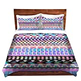 DiaNoche Designs Organic Saturation Girly Colorful Aztec Pattern Brushed Twill Home Decor Bedding Cover, 7 Queen Duvet Sham Set