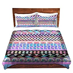 Duvet Covers Premium Woven Twin, Queen, King from DiaNoche Designs by Organic Saturation Home Decor and Bedding Ideas - Girly Colorful Aztec Pattern