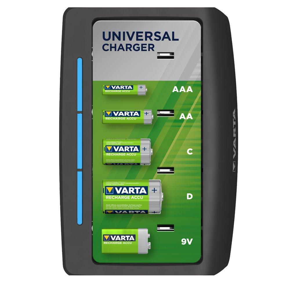 VARTA Universal Charger - Cargador de Pilas NiMH AA, AAA, C, D y 9 V, 4 Ranuras
