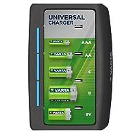 Chargeur Varta Universal - Coupure de Sécurité - - Luxe Varta Design - Charges 2 ou 4 Piles AA, AAA, C, D ou 1 x 9V - indicateur de Charge LED Déséquipée